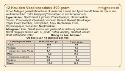 Etiket van 12 kruiden vezelbroodmix van Noets