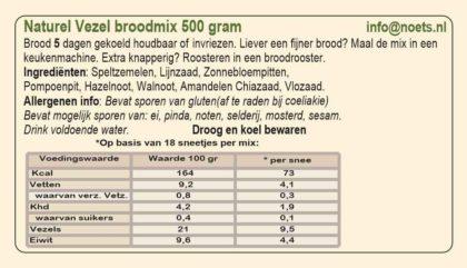 Ingrediënten voor Naturel Vezel broodmix van Noets.